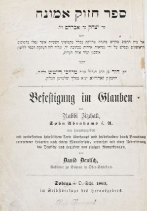Befestigung im Glauben (Rabbi Jacob R. Marcus' copy). Rabbi Jizchak, David Deutsch