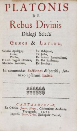 Platonis de Rebus Divinis Dialogi Selecti Graece & Latine ... in commodas sections disperiti. Annexo ipsarum Indice. Plato.
