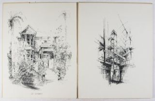 "A Selection of Six Pen and Ink Drawings from the Series ""Los Angeles Landmarks"" Originally Published by Westways Magazine. Volume One. [SIGNED]"