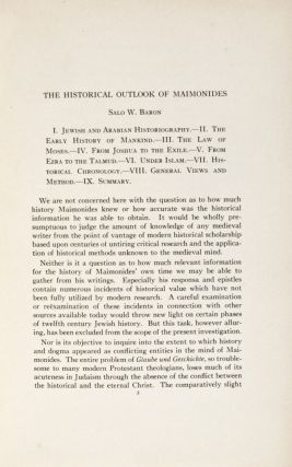 The Historical Outlook of Maimonides