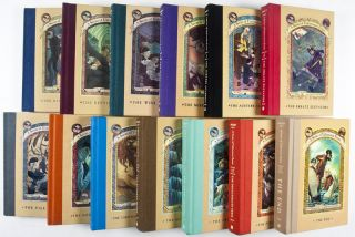 A Series of Unfortunate Events. Complete set of 13 volumes + Promotional Items [SIGNED BY HELQUIST AND INSCRIBED BY SNICKET]. Lemony Snicket, Author, Brett Helquist, Illustrator.