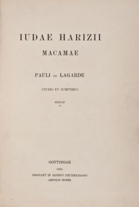 Judae Harizii Macamae Pauli de Lagarde studio et sumptibus editae. Yehuda Alharizi, also known as also Judah ben Solomon Harizi or al-Harizi.