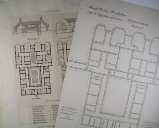 Collection of 10 original printed architectural plans & drawings by Ludwig Hoffmann of the Rudolf-Virchow-Krankenhaus (Hospital) in Berlin-Wedding. Signed & annotated by Hoffmann, some also signed by Stadtbauinspektor Tietze