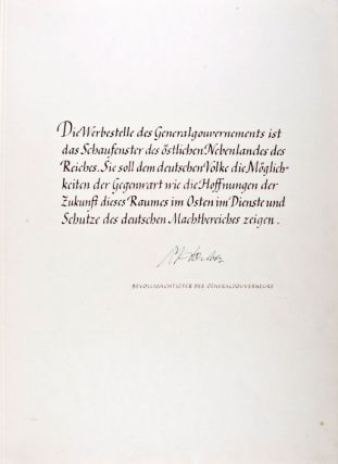 Unique Presentation Copy to Dr. Hans Frank, Generalgouverneur of Poland (with 31 Original Photographs)
