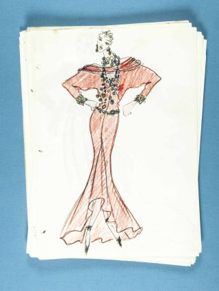 Unique Diane von Furstenberg 1984 Spring/Summer & 1985 Fall Couture collection with publicity photographs by Helmut Newton, 100's of original full & partly colored renderings, drawings in various states, swatch samples, press photos, Polaroid's and various other related material