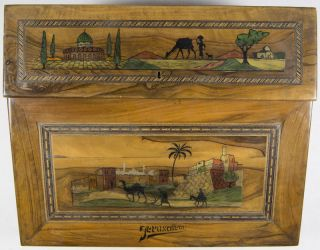 In Laid and Illustrated Olive Wood Palestine Writing Desk. n/a