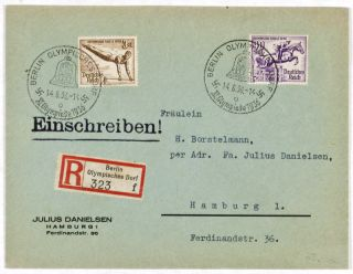 Nazi Germany 1936 Summer Olympics: Lot of 4 stamped envelopes