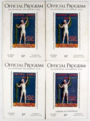 Official Program Xth Olympiad, Los Angeles, USA: Tuesday, August 2, 1932; Thursday August 4, 1932; American Football, Monday August 8, 1932. Set of 3 programs. n/a.