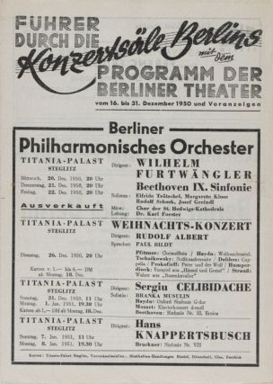 Lot of 23 Berlin Philharmonic, Opera Programs and Other Memorabilia Pertaining to German...
