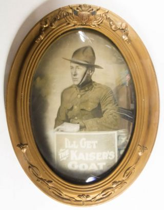 """I'll Get the Kaiser's Goat"" Original hand-colored photogravure portrait of a WWI American soldier. n/a."
