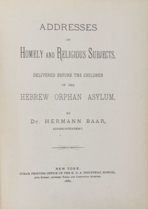 Addresses on Homely and Religious Subjects. 2-vol. set (Complete). Dr. Hermann Baar