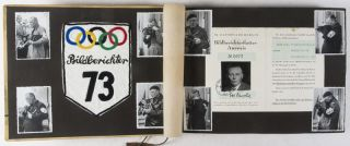 Unique collection of 3 vintage albums from German sport photographer and war correspondent Carl Weinrother, documenting his personal life, The Berlin Olympic Games of 1936, and Sport in war-torn Europe [INCLUDES ORIGINAL ARTIFACTS, DOCUMENTS, AND SILVER GELATIN PRINTS]