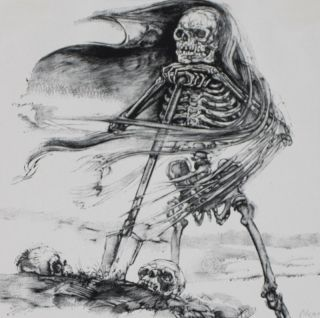 Der Rote Totentanz. Red Death Dance [SIGNED ORIGINAL SUITE OF WODD ENGRAVINGS]. Hermann Schardt