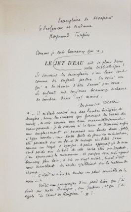 Le Jet d'Eau [INSCRIBED, SIGNED, WITH ORIGINAL HANDWRITTEN LETTER, AND POEM BY THE AUTHOR]