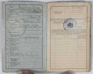 Igazolványi lap [Identification Card issued for an Hungarian Jewish man during WWII]