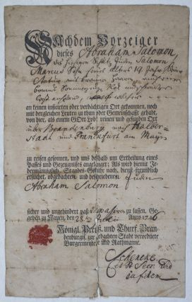18th Century Printed and Manuscript Prussian Passport for the Jew Abraham Salomon. n/a