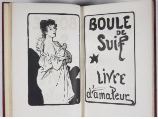 Boule de Suif [UNIQUE COPY FROM THE PERSONAL LIBRARY OF FRENCH PUBLISHER PAUL OLLENDORFF - WITH SIGNED HANDWRITTEN TELEGRAM FROM GUY DE MAUPASSANT TO HIS PUBLISHER, A HANDWRITTEN LETTER FROM LAURE DE MAUPASSANT TO HER SON'S PUBLISHER, A HANDWRITTEN LETTER FROM GUSTAVE DE MAUPASSANT TO HIS SON'S PUBLISHER, AN ORIGINAL DRAWING BY ILLUSTRATOR FRANCOIS THEVENOT, AND A STRIKING ORIGINAL CABINET PHOTOGRAPH OF THE AUTHOR]