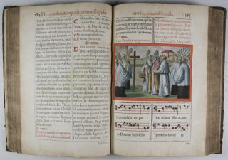 Pontificale Romanum Clementis VIII Pont. Max. iussu restitutum atque editum [FULLY HAND-COLORED WITH 156 IN TEXT ENGRAVING AND WITH STRIKING PAINTED PAPER EDGES]