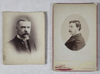 Collection of Seven Original Cabinet Portraits of Press Magnates and Journalists: James Gordon Bennett, Jr.; Horace Greeley; Col. Henry Watterson; Archibald Forbes [SIGNED]; Theodore Tilton; Edgar Wilson Nye [INSCRIBED AND SIGNED]