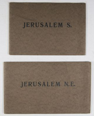Jerusalem N. E. + Jerusalem S. [TWO FOLDED PANORAMIC VIEWS OF JERUSALEM IN PHOTOGRAVURE]. n/a