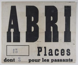 Abri 15 Places (WWII French Air Raid Shelter Sign). n/a.