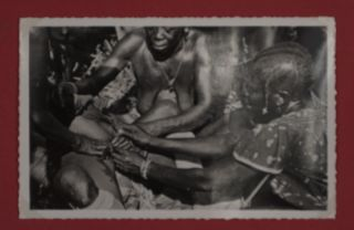 """Female Circumcision Ceremony - Initiation de l'excision chez les M'Baka-Mandja (A.E.F.) """"Collection Ethnographique"""" -- Female Circumcision Ceremony - Documentary photographs- 53 original photographs [From the personal collection of the photographer RENÉ PAULEAU] Containing two sets of dramatic, graphic and disturbing images."""