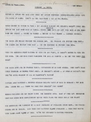 "Collection of 14 original annotated scripts from March 21, to June 27, 1945 for ""The Milton..."