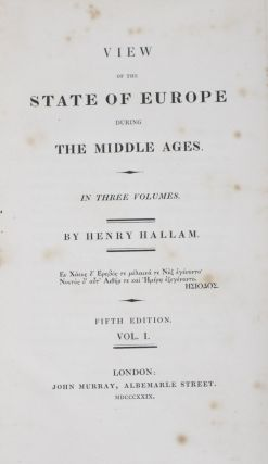 View of the State of Europe During The Middle Ages (3 vols.). Henry Hallam.