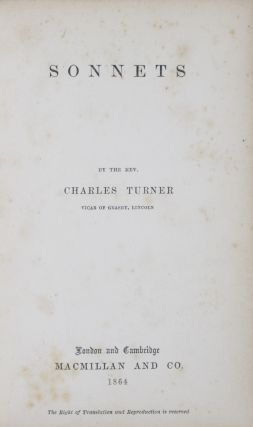 Sonnets [INSCRIBED]. Charles Turner