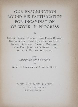 Our Exagmination Round His Factification for Incamination of Work in Progress (Roger Senhouse's...
