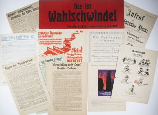 Collection of 73 political flyers distributed during the 1919 and 1920 electoral campaigns in...