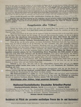 Collection of 73 political flyers distributed during the 1919 and 1920 electoral campaigns in Bavaria