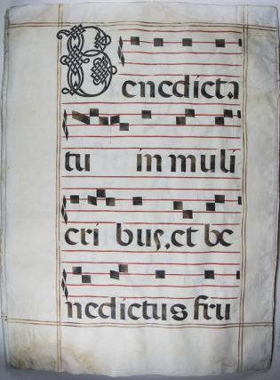 Collection of twenty music scores on vellum leaves from an 18th-century Gradual manuscript. n/a.
