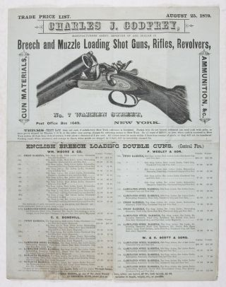 Trade Price List. August 25, 1879. Charles J. Godfrey, Manufacturers' Agent, Importer of and...