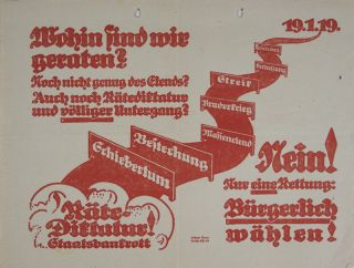 Collection of 14 political flyers distributed during the 1919 and 1920 elections in Bavaria. n/a.