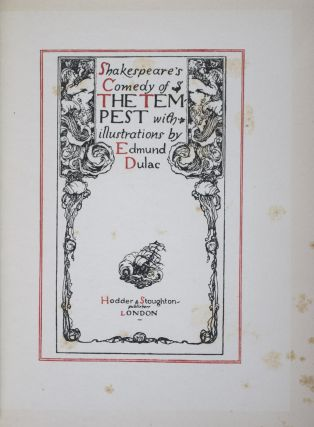 Shakespeare's Comedy of the Tempest [WITH ITS ORIGINAL DUST-JACKET]