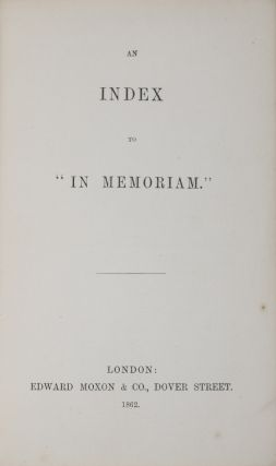 An Index to In Memoriam. Lewis Carroll, Charles Lutwidge Dodgson