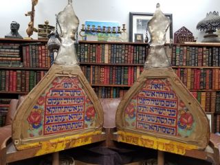 Unique 19th Century Painted Wooden Torah Case (Tik) [WITH] Torah scroll and Ornaments