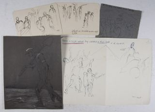 Holocaust Art: 5 Drawings. Alfréd Lakos