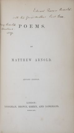 Poems [INSCRIBED]. Matthew Arnold