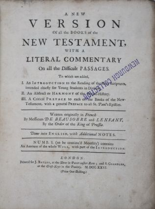 A New Version of all the Books of the New Testament with a Literal Commentary on all the...