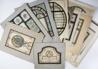 Unique Collection of 44 aquarelles for stained glass windows, 5 armorial blueprints, sketch and gouache, 2 original paintings, 12 documents (letters, exhibition catalogues, celebratory programs from various decorative arts associations), and 79 original silver gelatin and albumen prints from the estate of German ornamental painter and stained glass designer Heinrich Friedrich Johann Adels [SIGNED]