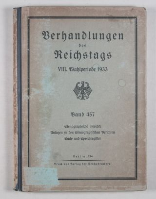 Verhandlungen des Reichstags VIII. Wahlperiode 1933 (Negotiations of the Reichstag VIII Election...