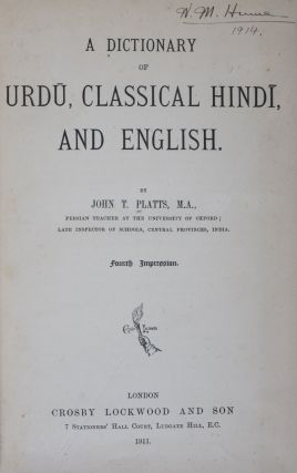 Dictionary of Urdu, Classical Hindi, and English. John T. Plates.