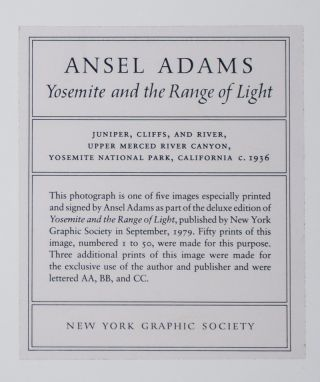 Yosemite and the Range of Light [WITH] Original Ansel Adams Print [SIGNED]