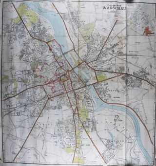 Plan der Stadt Warschau 1 : 20000 (WWII Nazi map of Warsaw, showing the Jewish ghetto). n/a