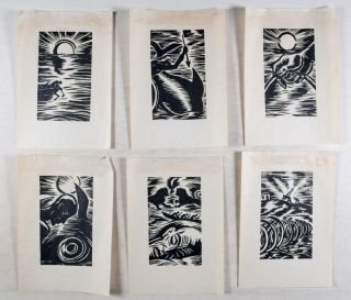 """Collection of 7 Woodcut Prints by Frans Masereel [INCLUDING 6 FROM HEMINGWAY'S """"THE OLD MAN AND THE SEA""""/ DER ALTE MANN UND DAS MEER]"""
