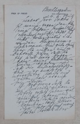 Freud Letter to Fritz Wittels, 1929. [Two page SIGNED, HANDWRITTEN LETTER]. Sigmund Freud