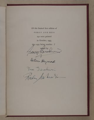 Porgy and Bess: An Opera in Three Acts. Libretto by DuBose Heyward. Lyrics by DuBose Heyward and Ira Gershwin. Production Directed by Rouben Mamoulian [SIGNED BY THE GERSHWINS housed in its Ratan box.]