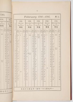 The 100 Years Anglo-Chinese Calendar, 1st Jan.,1776 to 25th Jan., 1876 [INSCRIBED BY THE AUTHOR] [JOHN FRYER'S COPY]